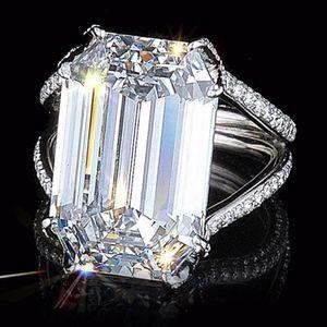 Diamond Emerald Crystal Cocktail Wedding Ring